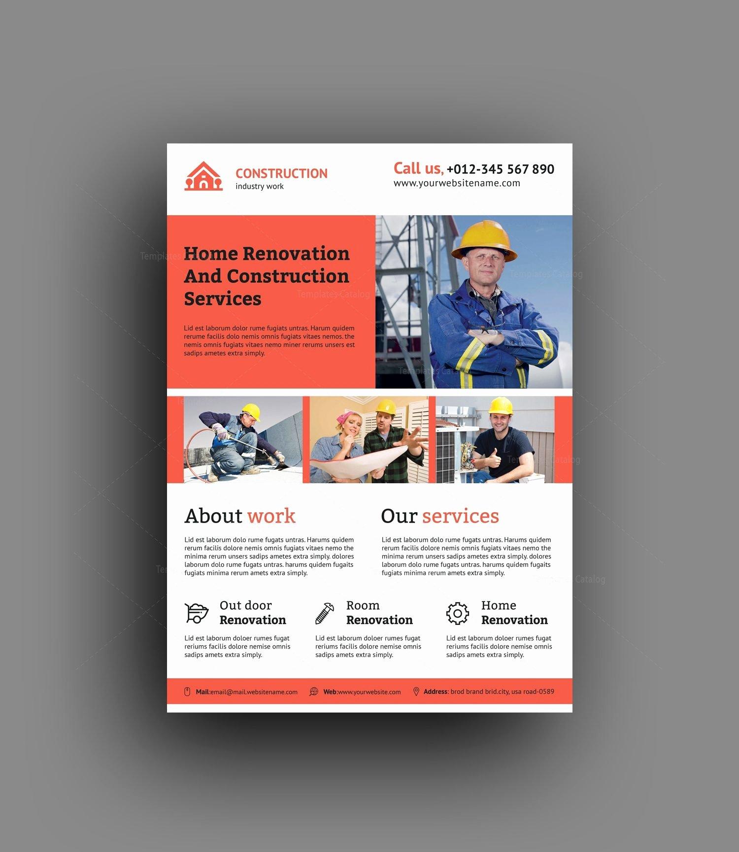 renovation construction flyer design template