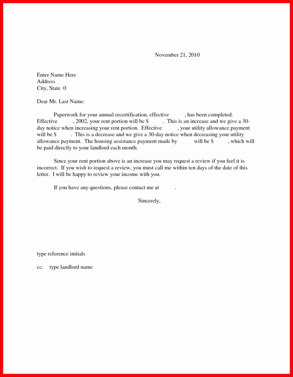 Rent Increase Notice Template Melo In Tandem Co Letter for