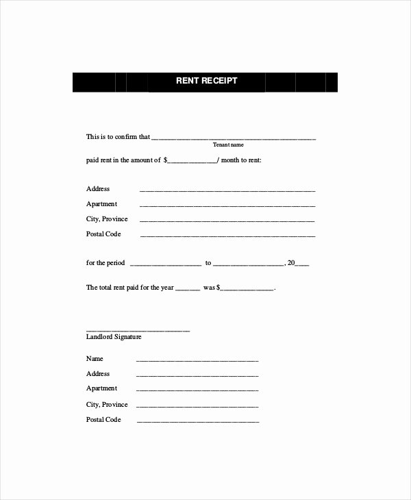 Rent Receipt Template 8 Free Word Pdf Documents
