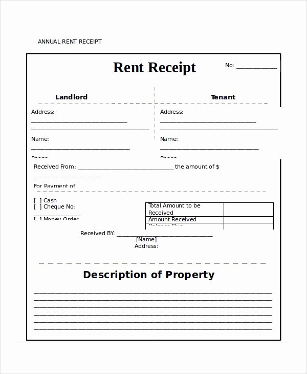 Rent Receipt Template 9 Free Word Pdf Documents
