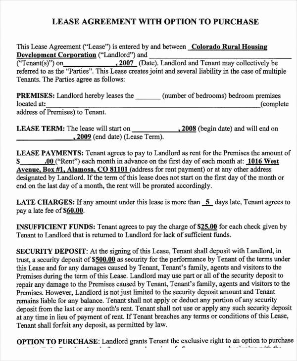 Rent to Own Contract Templates 7 Free Word Excel Pdf