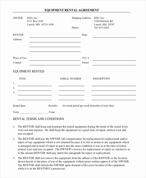 Rental Agreement form – 12 Free Word Pdf Documents