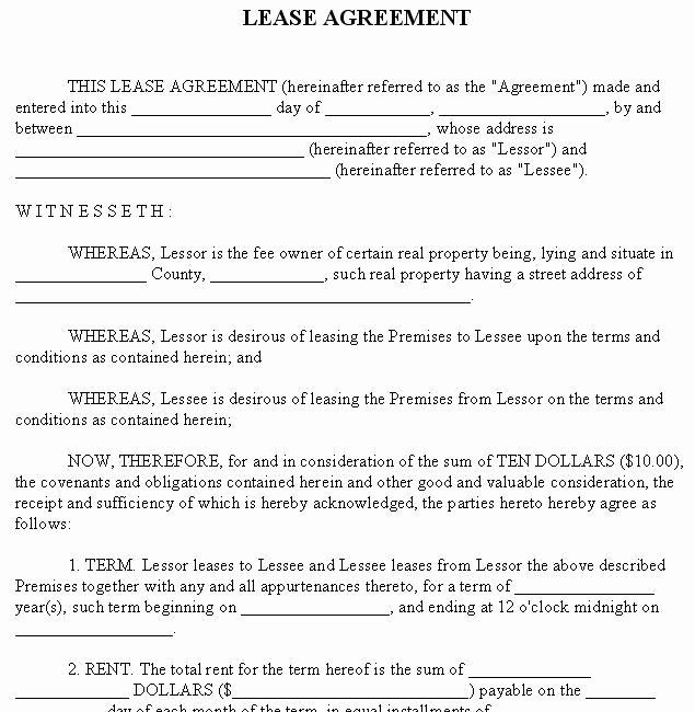 Rental Agreement forms Lease Agreement form