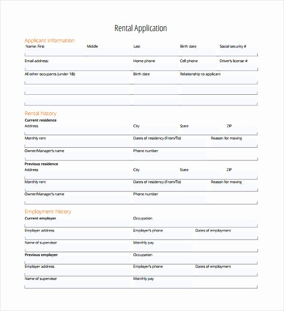Rental Application – 18 Free Word Pdf Documents Download
