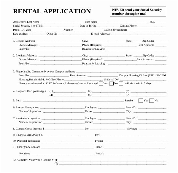 Rental Application Template – 12 Free Word Pdf Documents