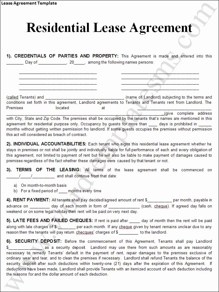 Rental Lease Agreement Templates Free