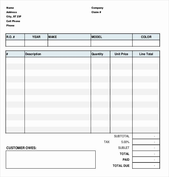 Repair order form