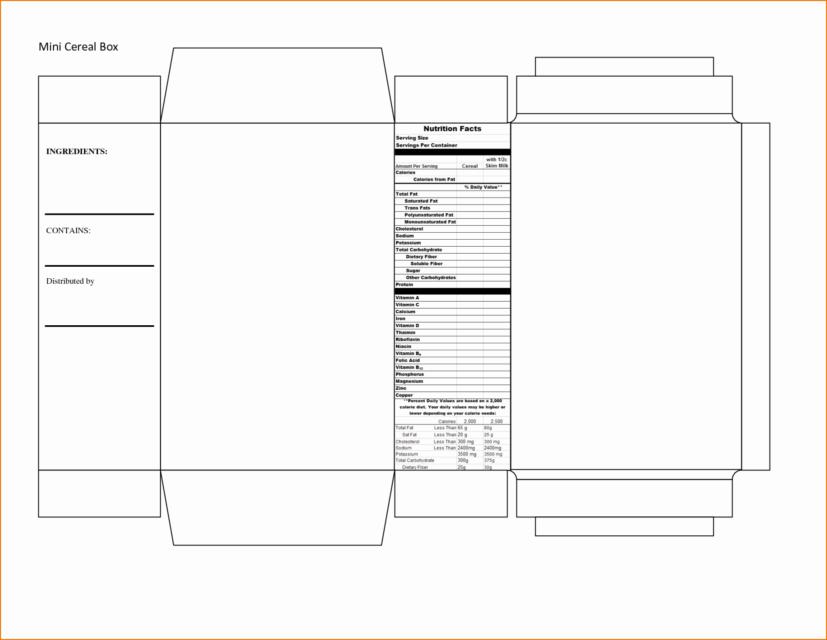Report Free Templates Cereal Box Book Report Template