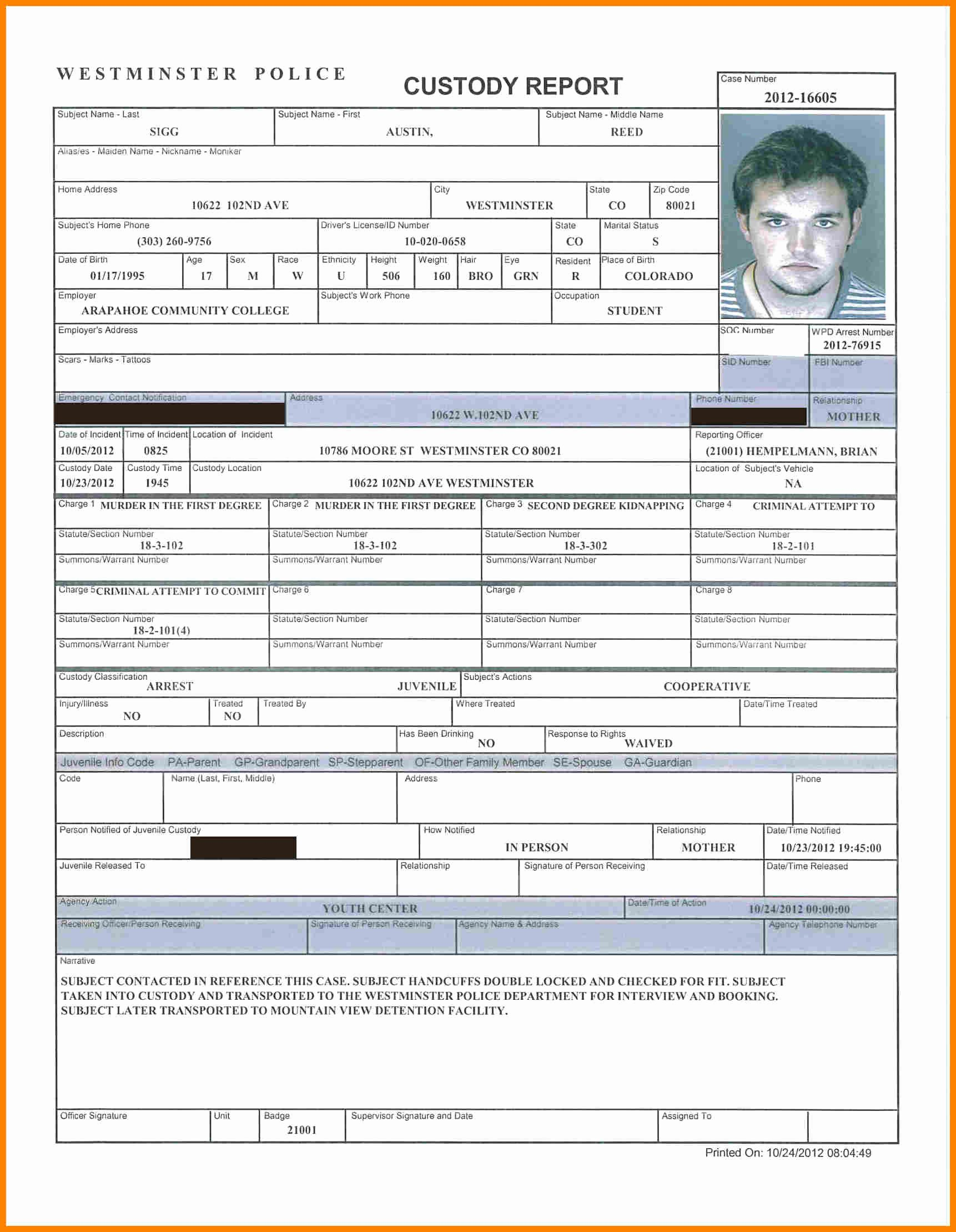 Report Printable Police Report Template Police Report