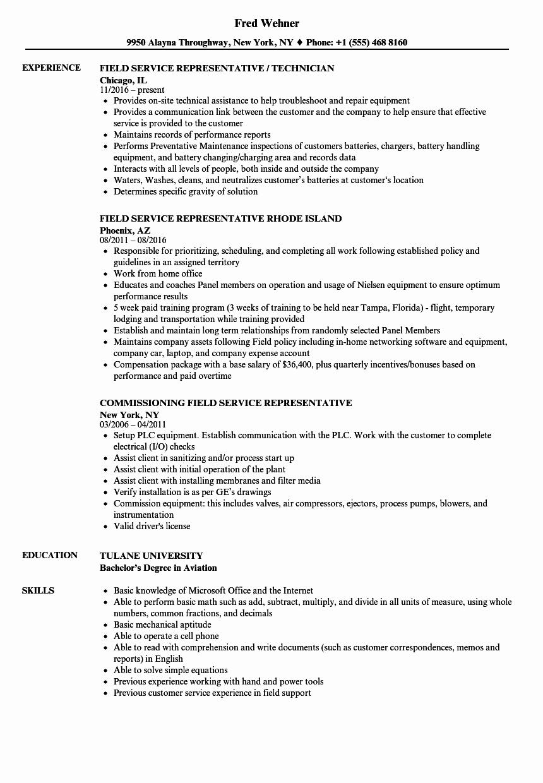 Representative Field Service Resume Samples