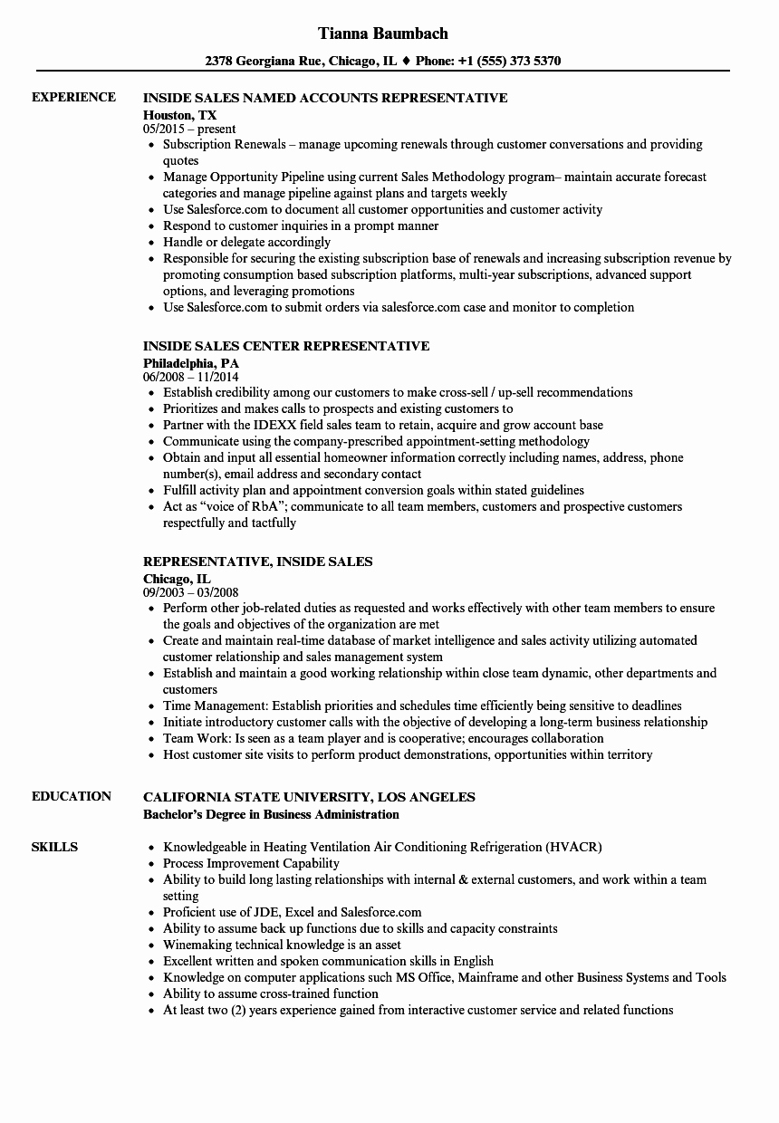 Representative Inside Sales Resume Samples