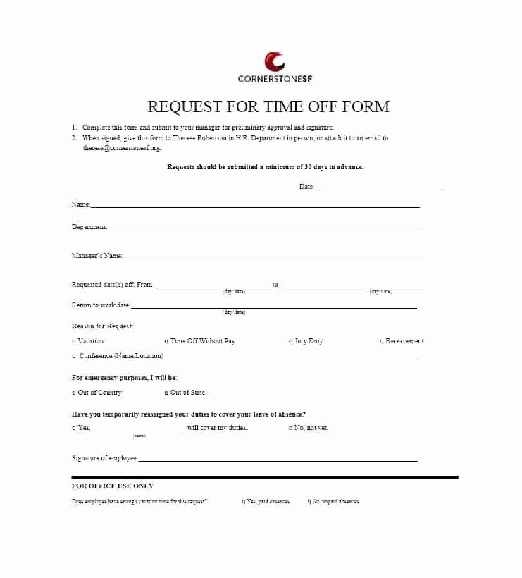 Request for Time F form Template – Royaleducationfo