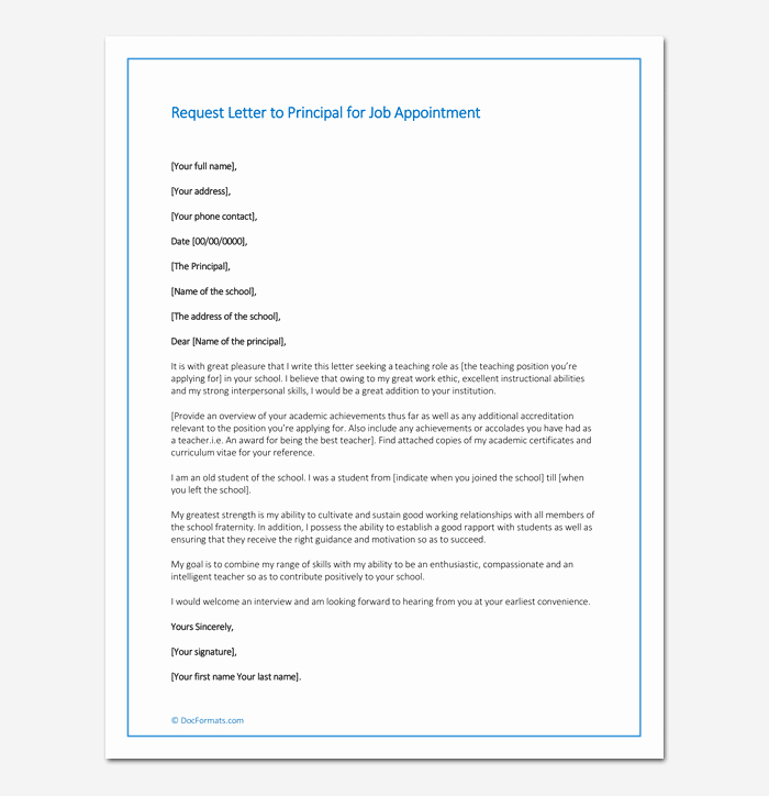 Request Letter to Principal for Job Appointment Sample