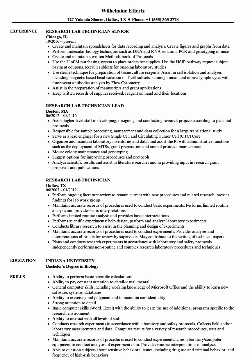 Research Lab Technician Resume Samples