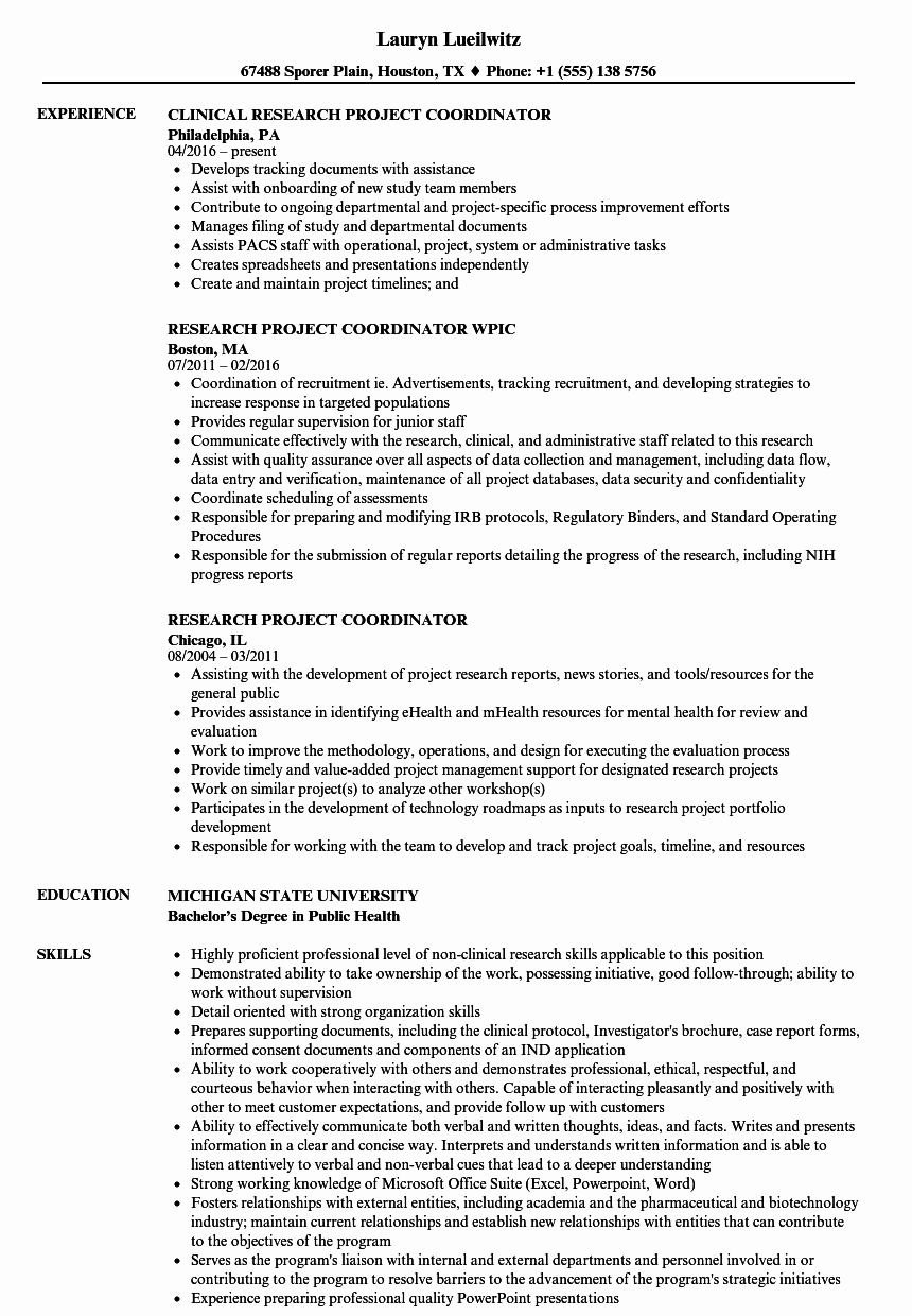 Research Project Coordinator Resume Samples