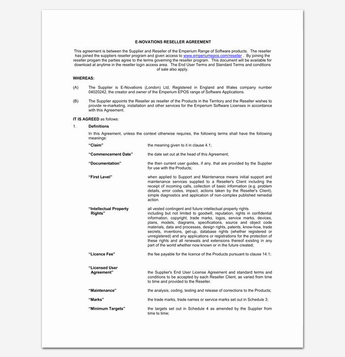 Reseller Agreement Template 6 Samples Examples & formats