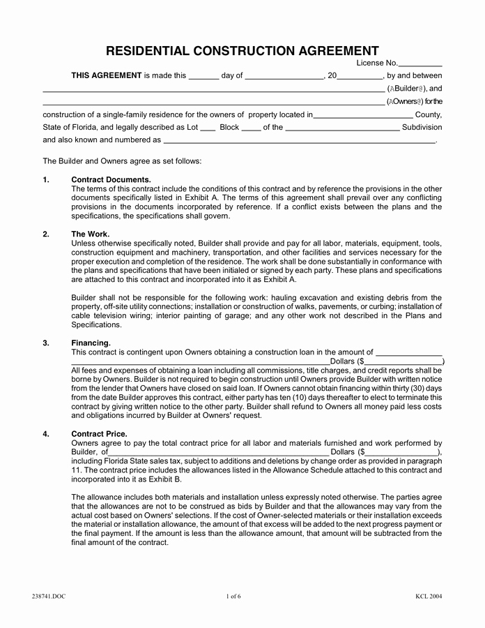 Residential Construction Agreement In Word and Pdf formats