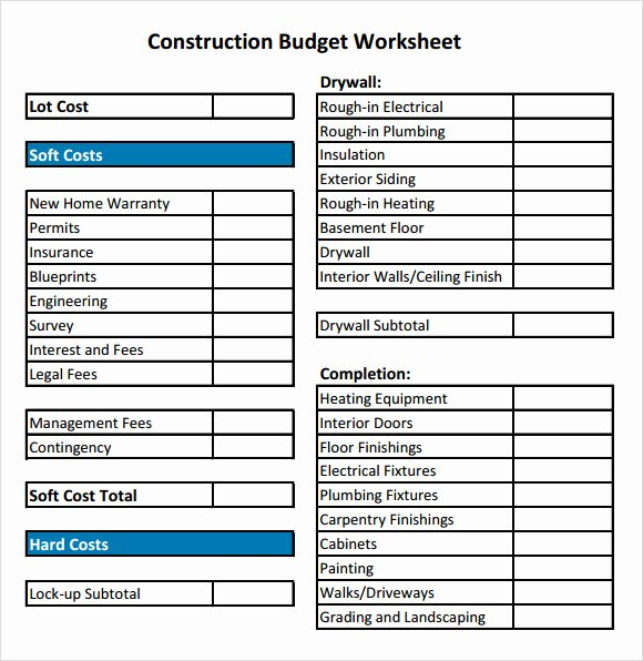 Residential Construction Bud Template