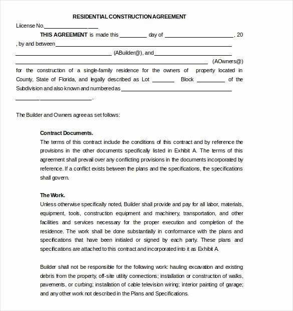 Residential Construction Contract Template Free 189
