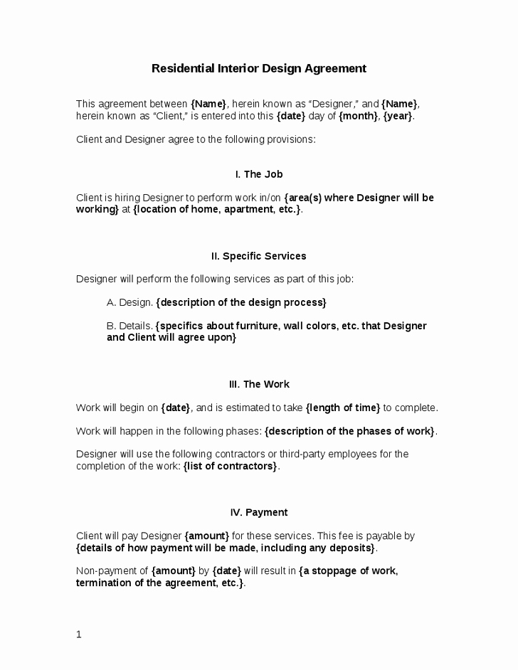 Residential Interior Design Letter Agreement S Of