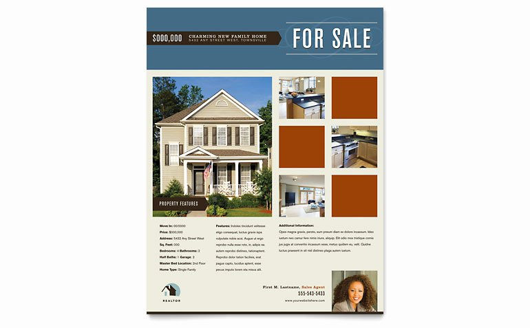 Residential Realtor Flyer Template Word & Publisher