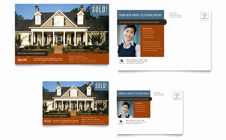Residential Realtor Postcard Template Word & Publisher