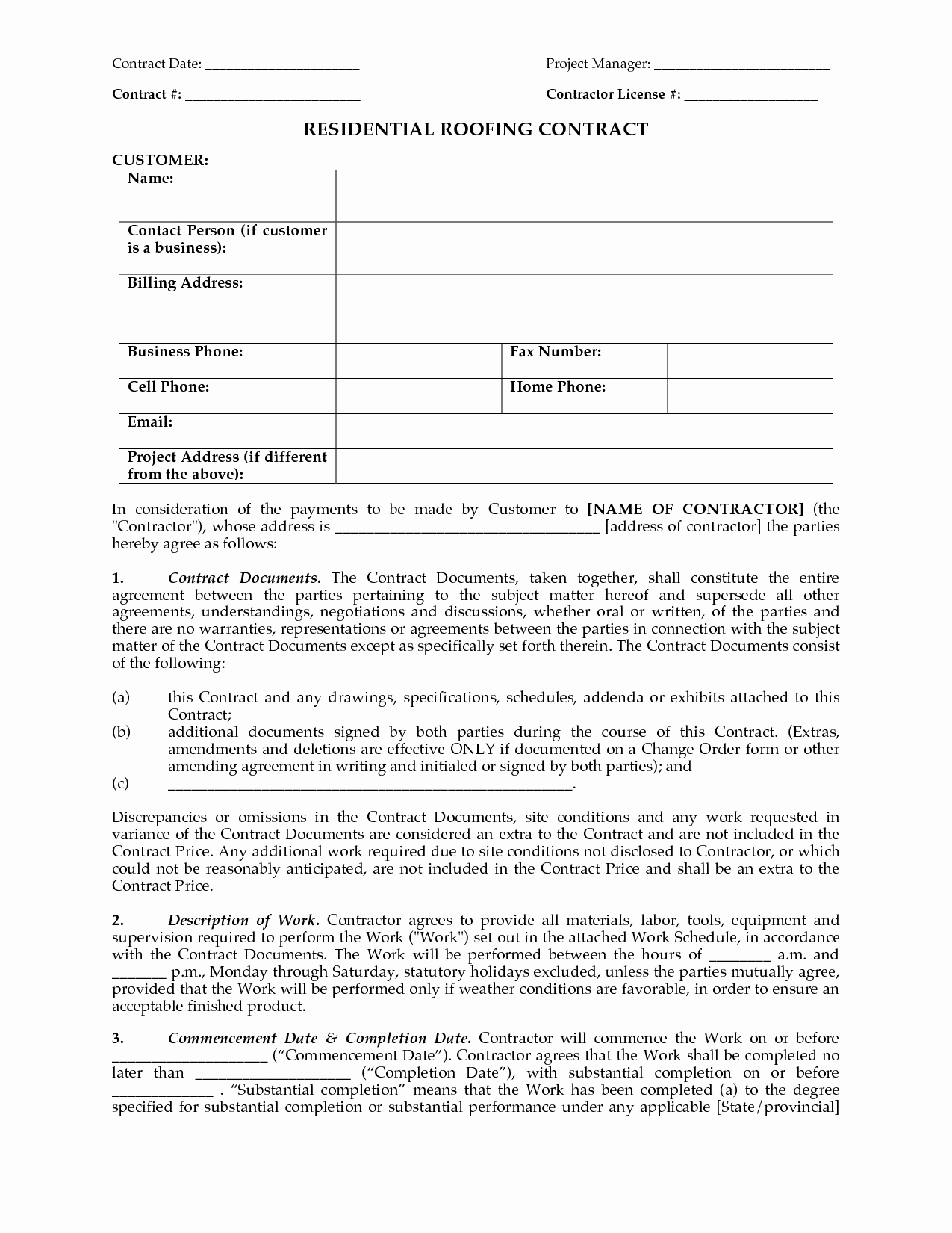 Residential Roofing Contract Contract Date Project Manager