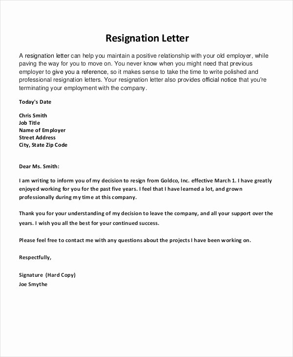 Resignation Letter 22 Free Word Pdf Documents Download