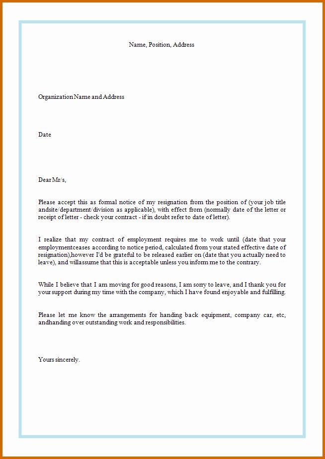 Resignation Letter format for Career Change Resignation