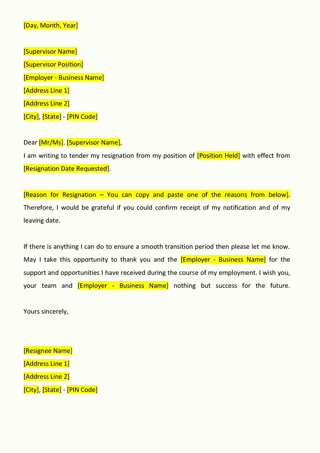 Resignation Letter format Indiafilings Document Center