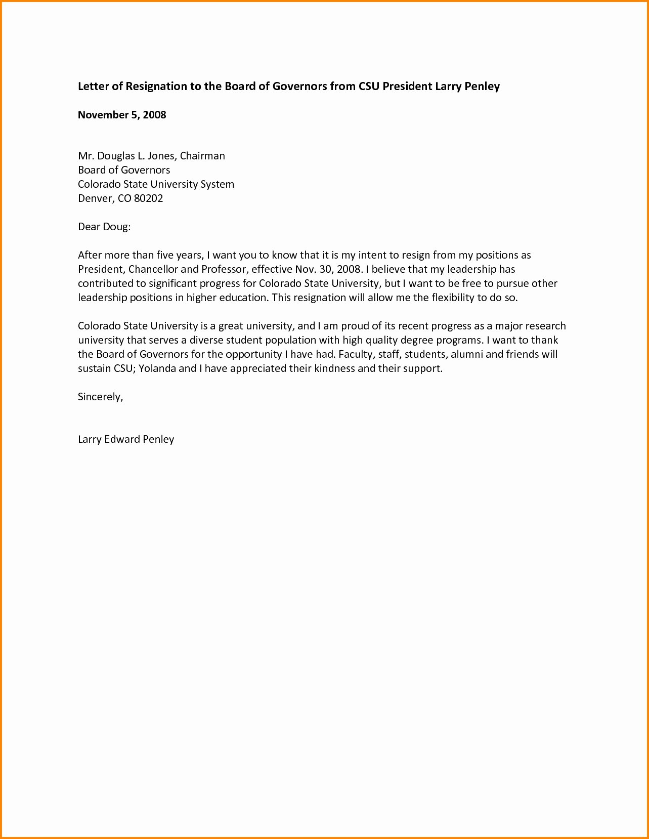 Resignation Letter From Board Directors Template