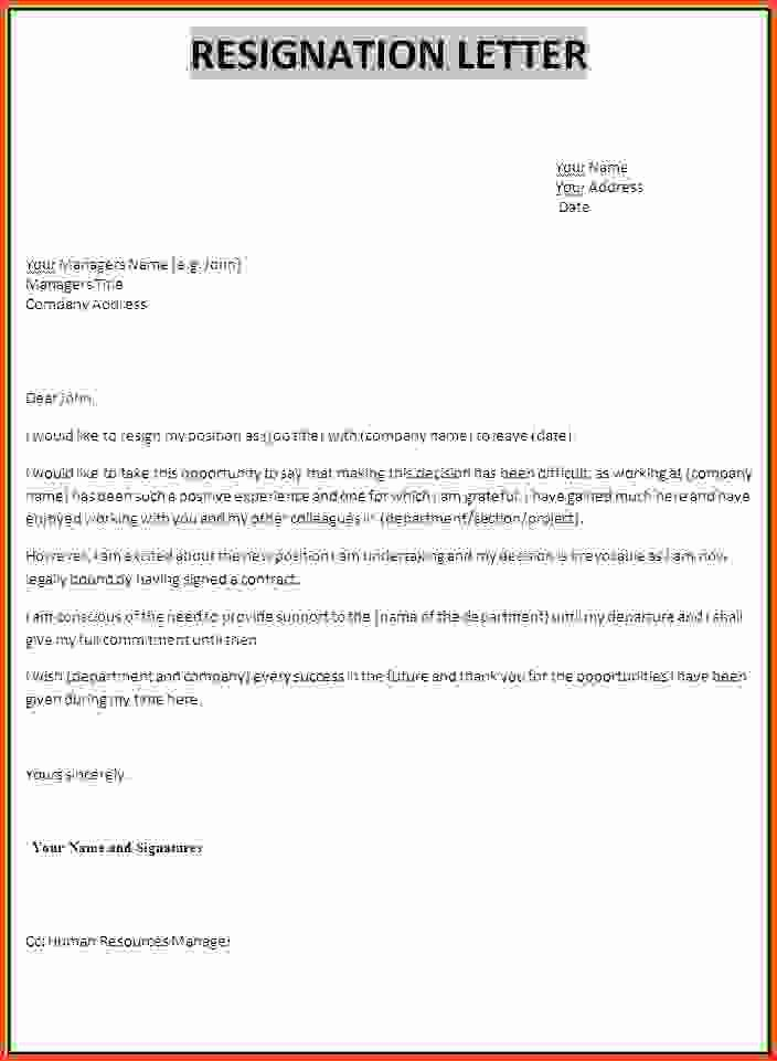 Resignation Letter Professional Cover Letter Samples