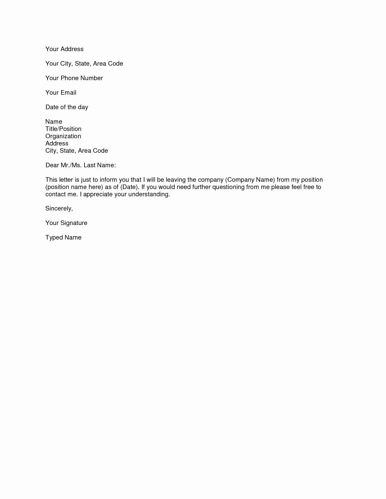 Resignation Letter Samples Download Pdf Doc format