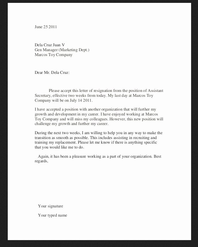Resignation Letter Template Examples