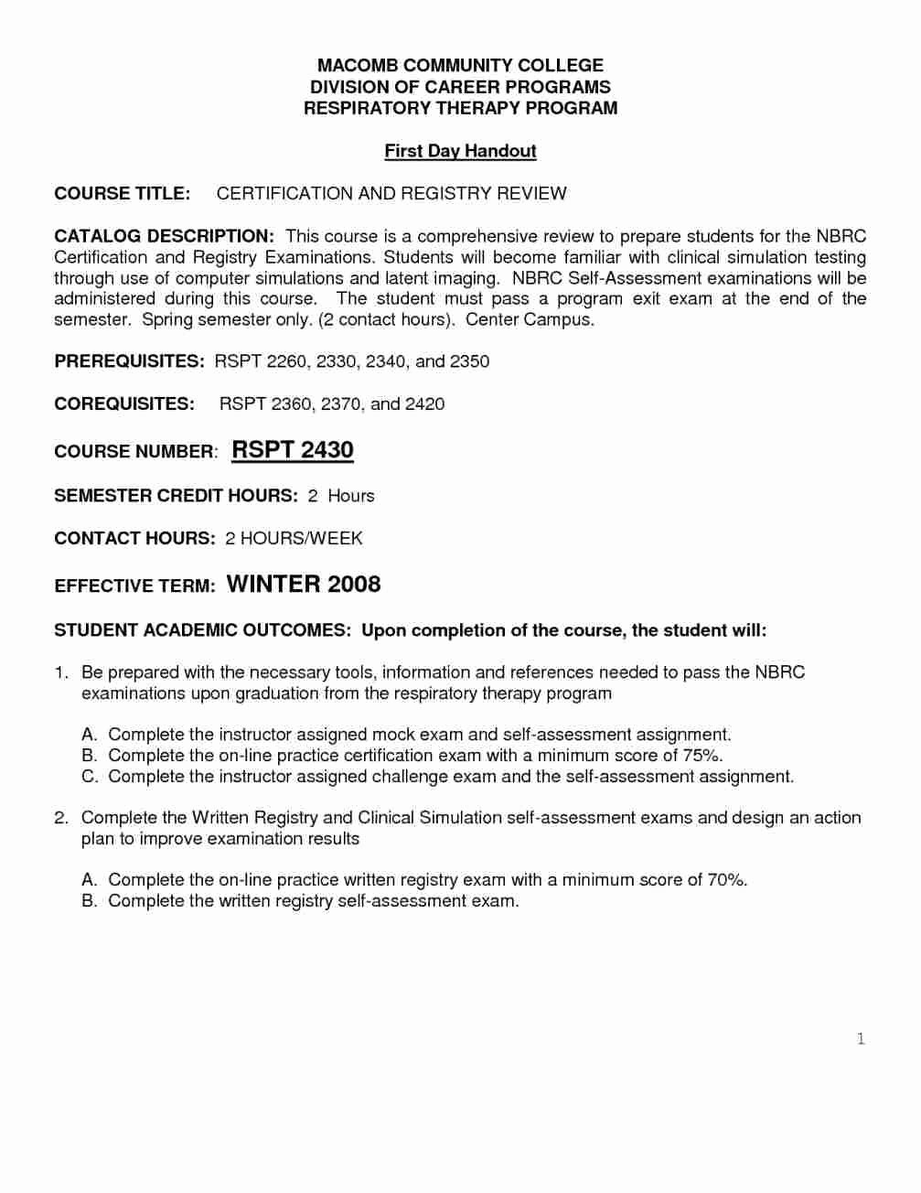 Respiratory Cover Letter