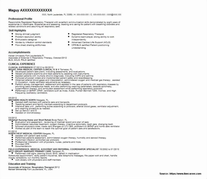 Respiratory therapy Resume Templates Resume Resume