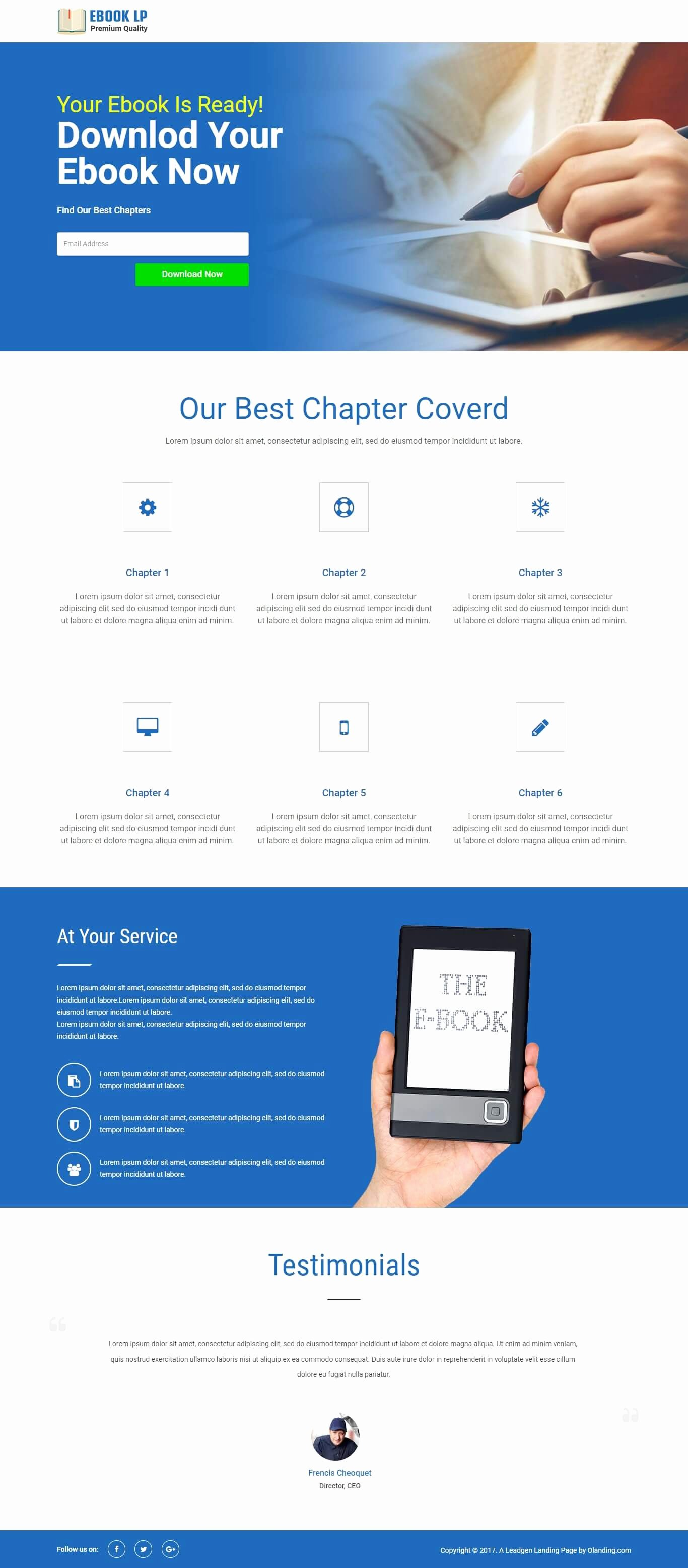 Responsive Ebook HTML Landing Page Template with Free Builder