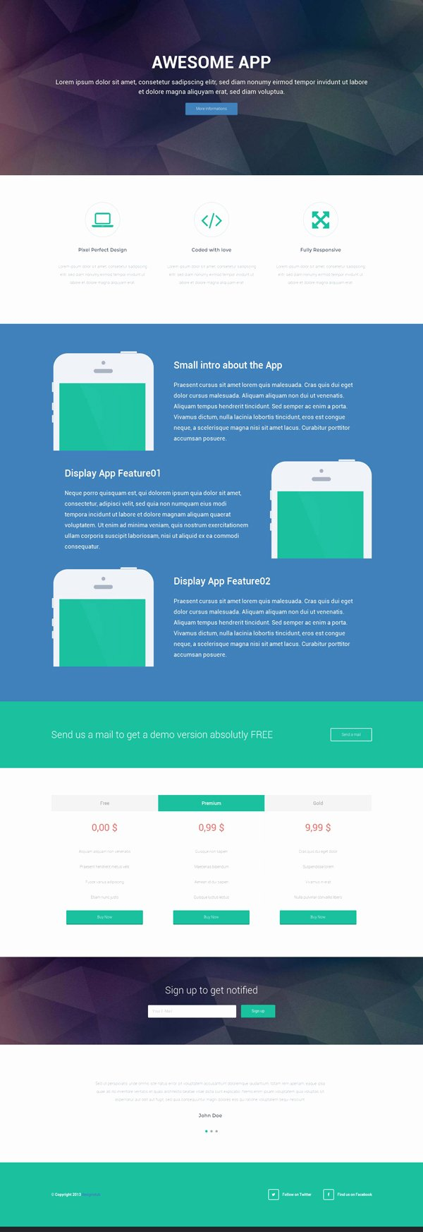 Responsive Landing Page HTML Template