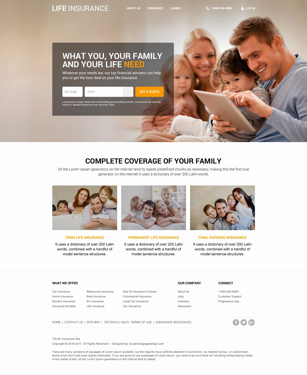 Responsive Life Insurance Website Design for Professional