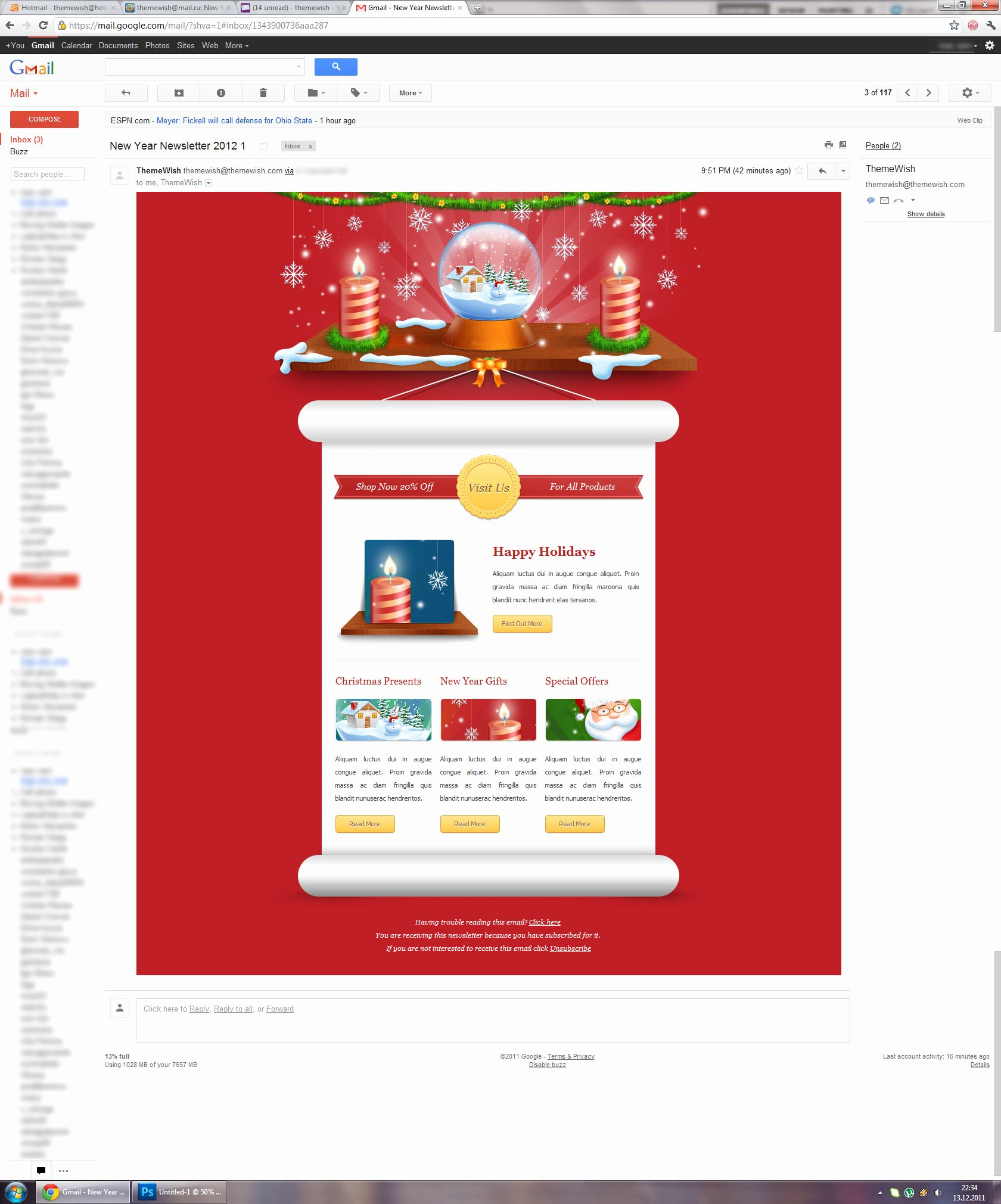 Responsive Merry Christmas Email Template Party Invitation