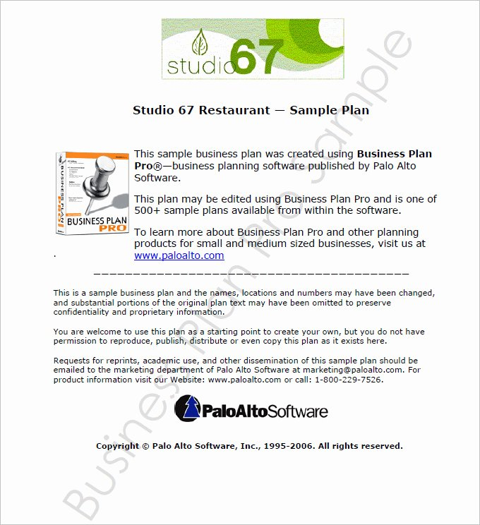 Restaurant Business Plan Template 9 Free Pdf Word