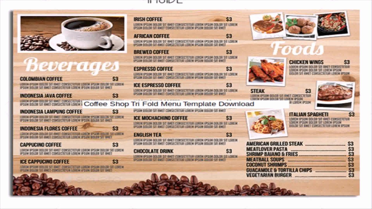 Restaurant Cafe Take Out Menu Template Free Download