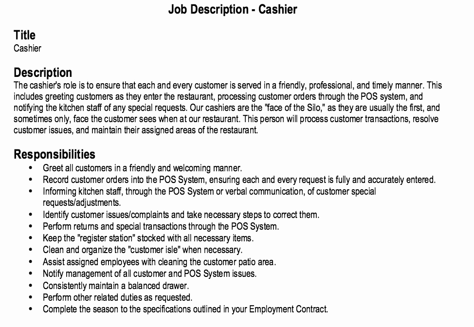 Restaurant Cashier Job Description Resume
