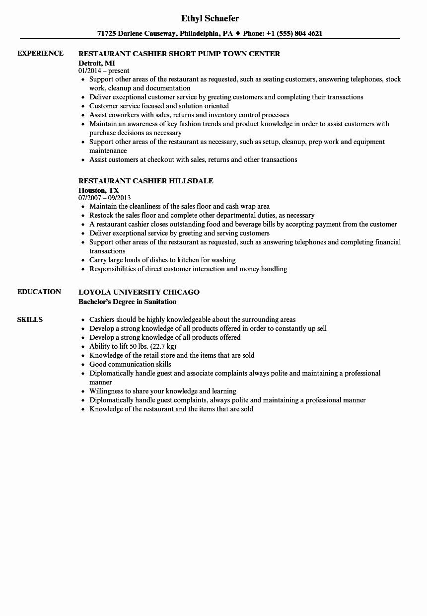Restaurant Cashier Resume Samples