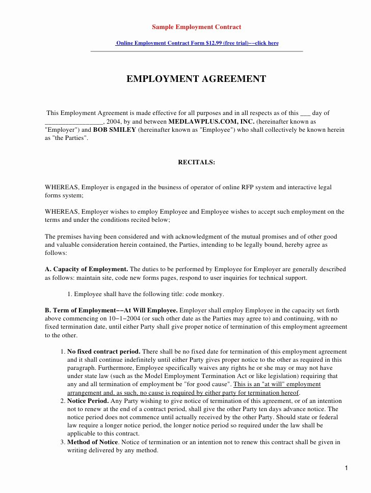 Restaurant Employee Contract Template Free software and