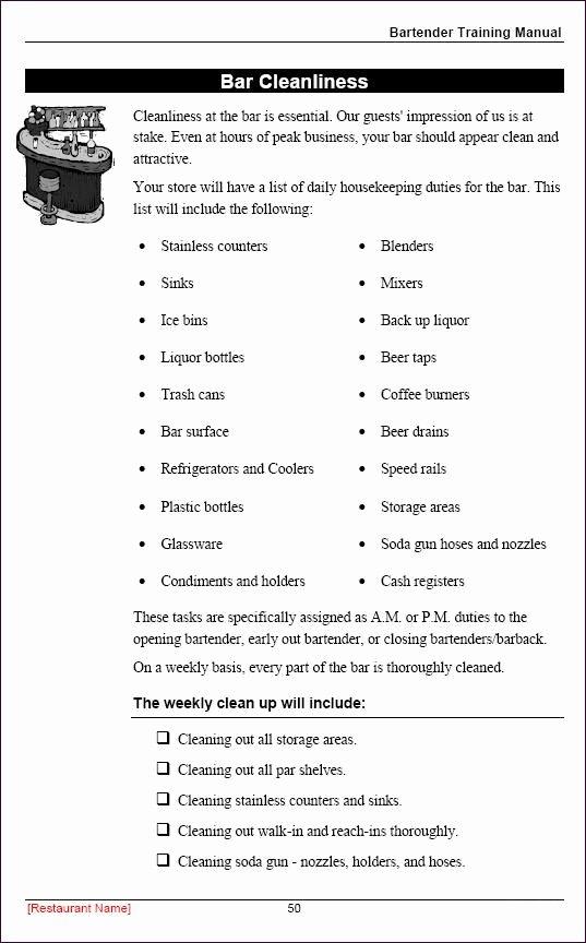Restaurant Employee Training Manual Sample Page