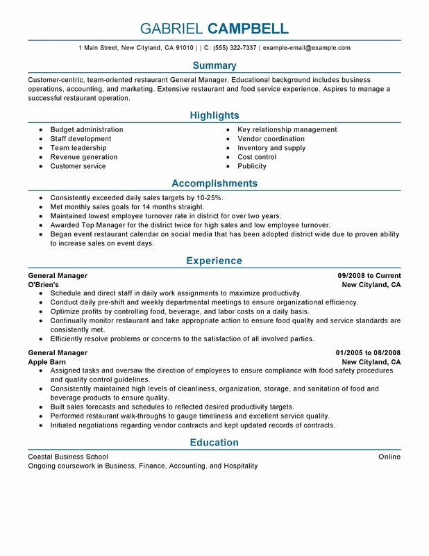 Restaurant General Manager Resume Examples Free to Try