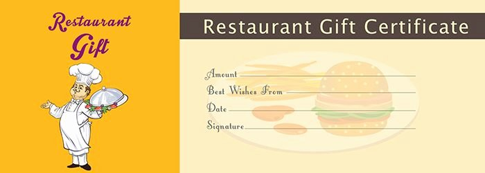 Restaurant Gift Certificate Template Free Gift