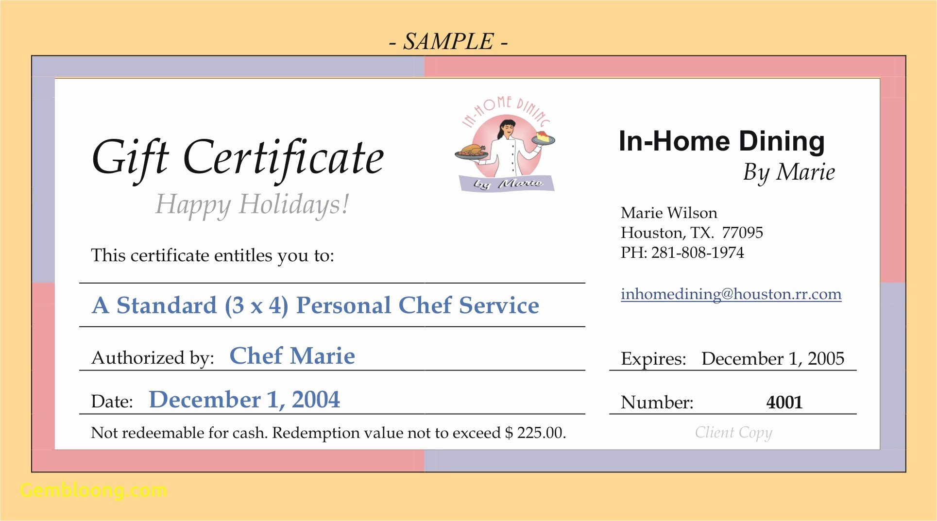 Restaurant Gift Certificate Templates