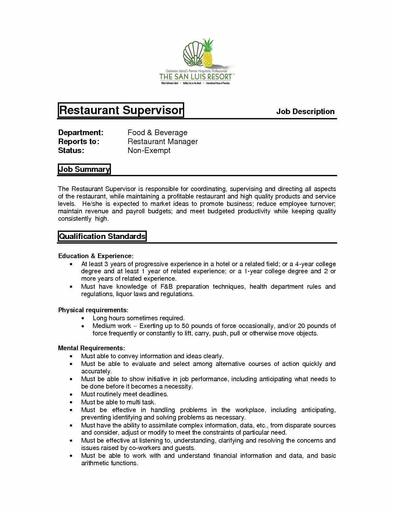 Restaurant Manager Job Description Resume Resume Ideas